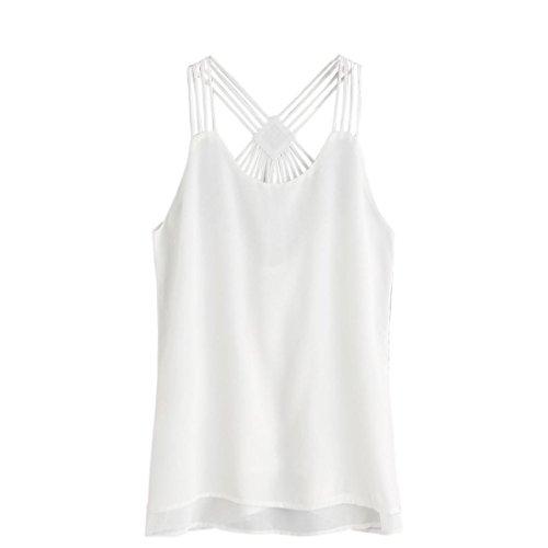 Manadlian - T-shirts Gilet Femme Crop Top Vest Tank Shirt Blouse Cami Top sans Manches Casual Blanc