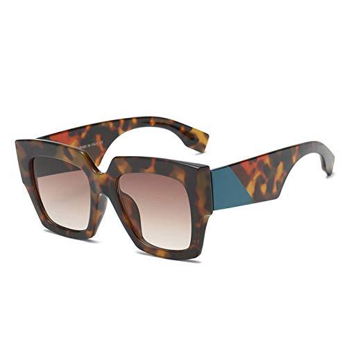 Zbertx Modedesigner Quadrat Sonnenbrille Frauen Männer Kunststoff Vintage Sonnenbrille Uv400 Shades,Leopard