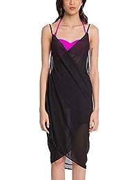 MPITUDE Womens Chiffon Long Beach Sarong High Waist Cover up Maxi Dress Swimsuit Wrap Free Black
