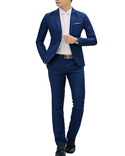 Costume Homme d'affaire Mariage Slim Fit Deux Pièces Veste + Pantalon Bleu1 M