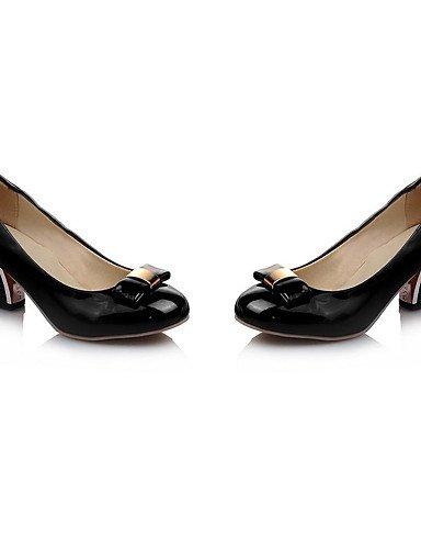 WSS 2016 Chaussures Femme-Bureau & Travail / Habillé / Décontracté-Noir / Rose / Amande-Gros Talon-Talons / Escarpin Basique / Bout Arrondi- black-us6.5-7 / eu37 / uk4.5-5 / cn37
