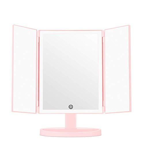 JXQ Desktop Dual Light Mirror Multi-angle Desktop Dual Power Supply peut être agrandi trois fois cadeau cadeau fille miroir , 3 couleurs (Color : Pink)