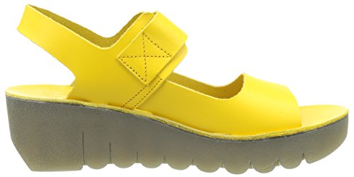 FLY London Yail907, Sandales Bout Ouvert Femme Jaune (Lemon 005)