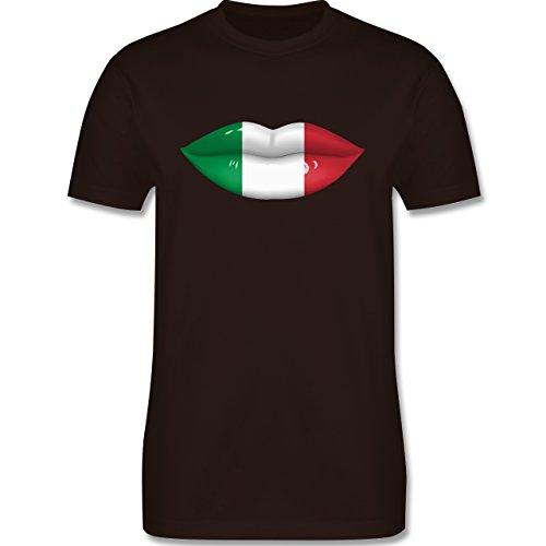 EM 2016 - Frankreich - Lippen Bodypaint Italien - Herren Premium T-Shirt Braun