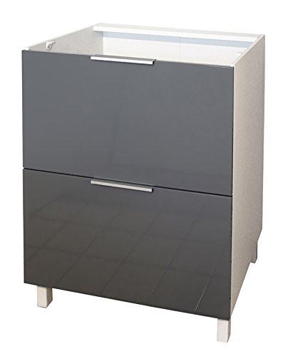 Berlenus Küchenunterschrank, mit 2 Schubladen, Grau Hochglanz, 60 x 52