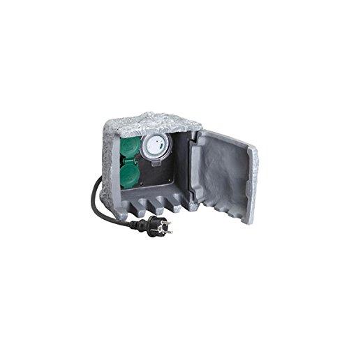 Preisvergleich Produktbild Unitec 44244 Steckdosenverteiler in Steinoptik mit 2 Steckdosen und Zeitschaltuhr