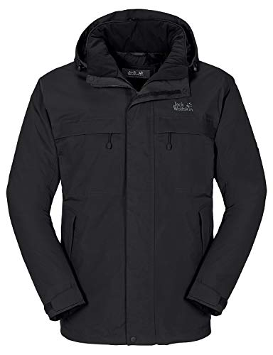 Jack Wolfskin Herren Wetterschutzjacke Wattiert North Country, black, L, 1102294-6000004