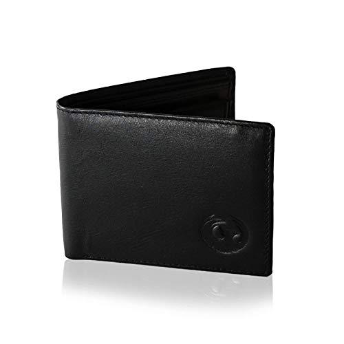 Burning Bird Geldbörse mit Münzfach, 7 Kartenfächern & RFID NFC Schutz   Herren Geldbeutel aus schwarzem Nappaleder