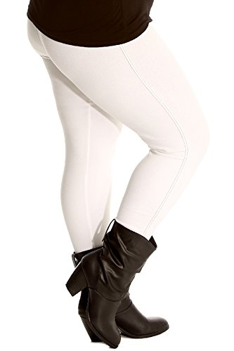 Nouvelle Collection Damen Übergröße Plain Elastische Jeggings Frau Plus Size Gamaschen (Größe 50-52, Weiß)