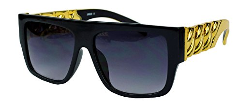 GIANNI MEDUSA Flat Top Sonnenbrille oversized Gold Chain FARBWAHL FGC (Gold Chain Schwarz)