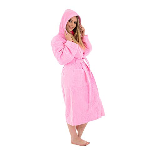 (Large / X-Large, Pink / Hooded) - Unisex 100% Luxury Egyptian Cotton Super Soft Velour Towelling Bath Robe Dressing Gowns Bathrobe Terry Towel Housecoat Nightwear Lounge Wears With Pockets And Belt