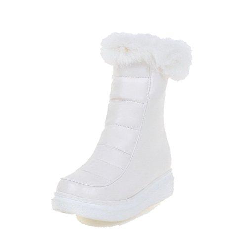 AgooLar Damen Pu Leder Niedrig-Spitze Rein Reißverschluss Niedriger Absatz Stiefel Weiß