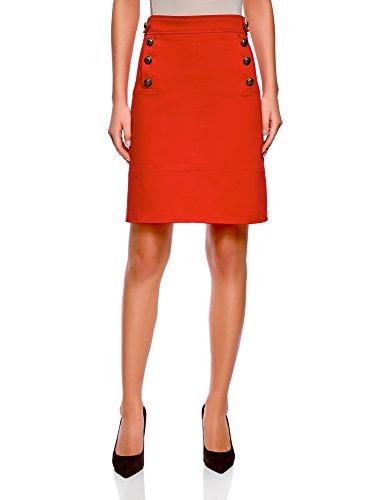 oodji Collection Femme Jupe Droite avec Boutons Décoratifs, Rouge, FR 38 / S