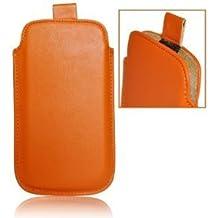 Maestro de accesorios funda de piel de imitación para Alcatel One Touch Pop C1 Naranja