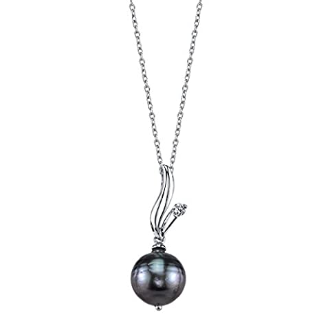9 mm tahitische Südsee-Perle Glaskristall &Anya Anhänger (Südseeperlen & Diamant-armband)
