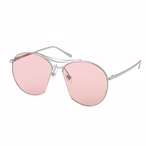 Komny transparente Sonnenbrillen Farbige Sonnenbrille weiblichen pink Retro gelbe Farbe Gläser einen silbernen Rahmen [ROSA OBJEKTIV]