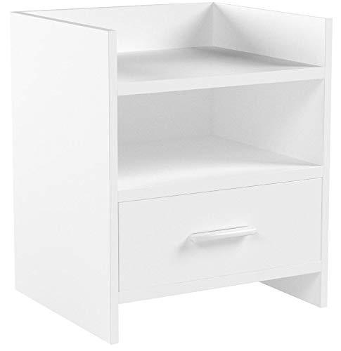 SoBuy® FBT66-W Nachttisch Nachtschrank Beistelltisch mit 1 Schublade und 2 Ablagen, weiß, BHT ca.: 38x45x35cm