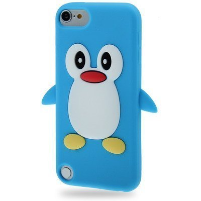 Coque silicone cartoon Pingouin pour ipod touch 5 et ipod touch 6 bleu clair