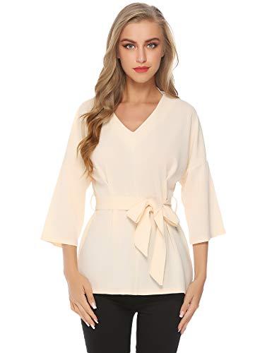 Abollria camicia donna elegante a maniche 3/4 lunghezza con cintura blusa casual a scollo-v camicetta larga con spalle scivolate per primavera estate