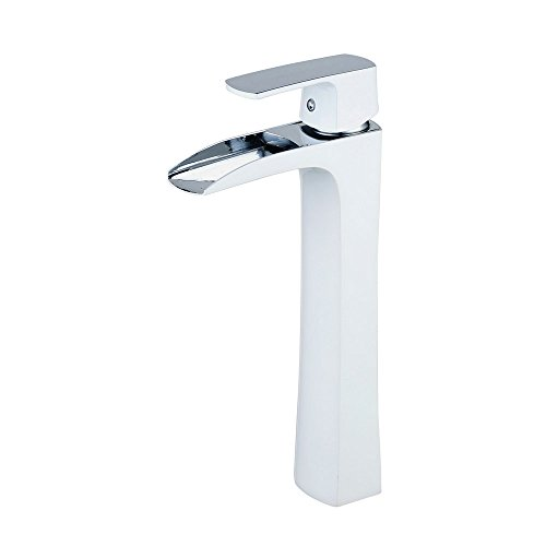 Wasserfall Waschtischarmatur Einhebelmischer Wasserhahn Waschbecken Armatur Messing Chrom/Weiß Malerei (Vessel Waschbecken Wasserhahn Chrom)