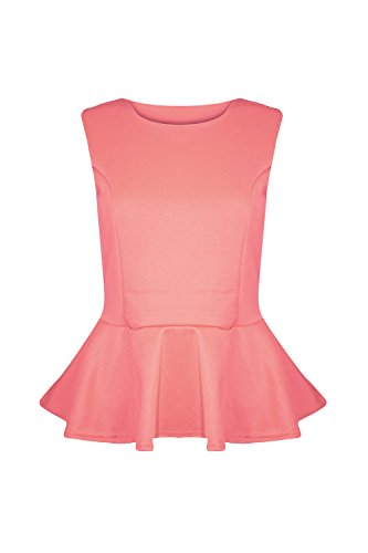 Pure Fashion Damen Ärmeloses Top Mehrfarbig Coral - Slim Fitted Bodyhug Flared Blouse Top