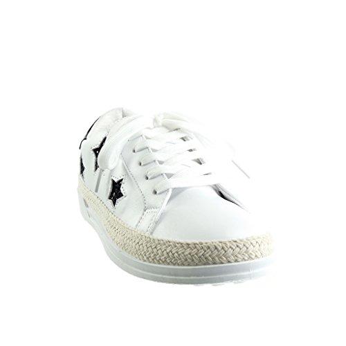 Angkorly Scarpe Moda Sneaker Tennis Low Donna Stella Paillette Lucide Tacco Tacco Piatto 1.5 cm Nero