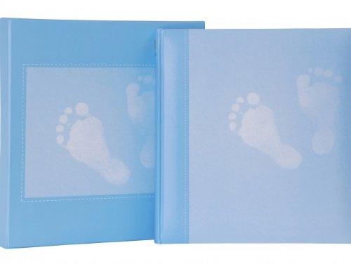 HENZO Baby Fotoalbum STEPS blau & Aufbewahrungsbox - 30,5 x 28 cm - 60 Seiten - Babyalbum - Album zur Geburt oder Taufe