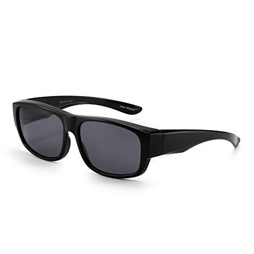 JIM HALO Polarisiert Fit Over Sonnenbrille Verspiegelt Oversize Überziehen Brille Damen Herren(Glänzendes Schwarz/Polarisiertes Grau)
