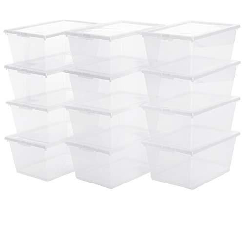 12x Aufbewahrungsbox Sammelbox Spielzeugkiste Schuhbox Set   inkl. Deckel   stapelbar   transparentes Material