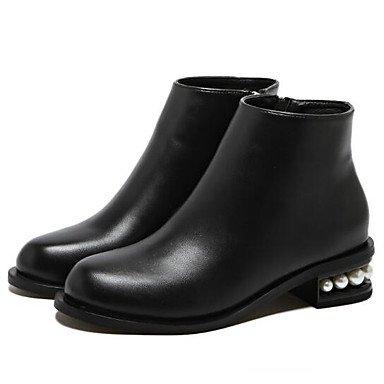 RTRY Scarpe Donna Vera Pelle Autunno Inverno La Moda Stivali Stivali Stivali Mid-Calf Per Casual Nero Black Noi6.5-7 / Eu37 / Uk4 5-5 / Cn37 US8 / EU39 / UK6 / CN39
