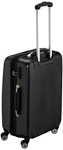 Packenger Koffer - Stone (L), Schwarz, 4 Zwillingsrollen, 81 Liter, 3,5Kg, 66cm, Koffer mit TSA-Schloss, Erweiterbarer Hartschalenkoffer (Polycarbonat) reißfester Trolley Reisekoffer, glänzend - 3