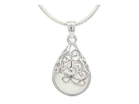 White decorated moonstone pendant necklace with real 925 sterling silver
