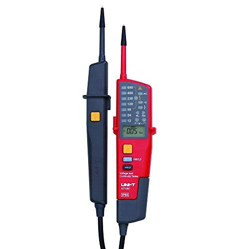 UNI-T UT18C Spannungs- und Durchgangspruefer Auto Bereich Spannungs- und Durchgangspruefer mit LCD/ LED-Anzeige Datum Halten RCD-Test und keine Batterie Erkennung -