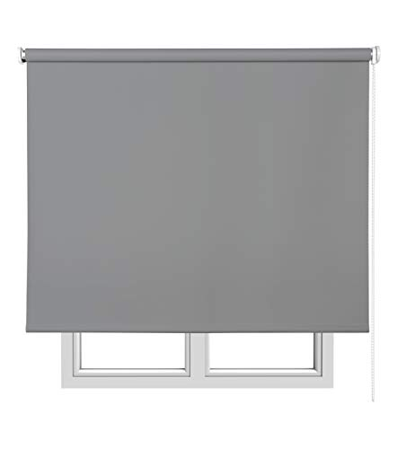 Estores Basic Opaco Estor Enrollable, Tela, Gris Medio, 150 x 175 cm