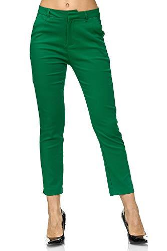 Elara Damen Chino Hose   Slim Fit   Schicke Stoffhose   Chunkyrayan VS19001-75 Green-38