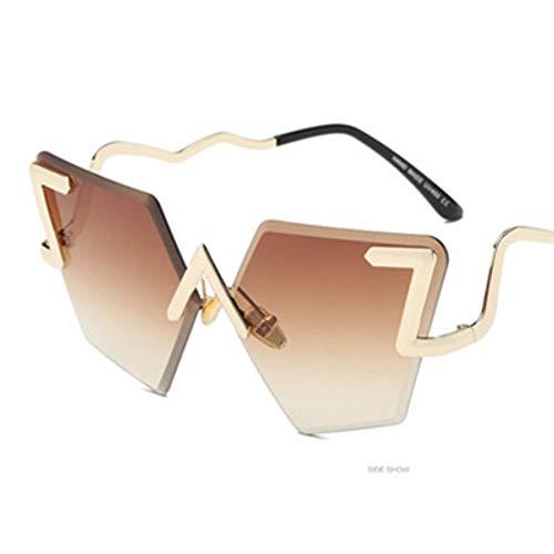 MJDABAOFA Sonnenbrillen,Randlose Unregelmäßige Sonnenbrillen Sonnenbrillen Big Frame Vintage Gold Frame Braunen Gläsern Frauen Männer Designer Neue Sonnenbrille