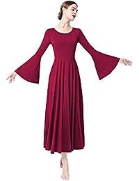 OBEEII Vestito Donna Liturgico Manica Lunga Asimmetrico Abito da Balletto  Ginnastica Classico Danza Combinazione Costume c1b0953e4cb
