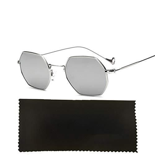 WHABJHexagon Square Clear Sonnenbrille Frauen MenMetal Frame Mirror Optical Sun Glasse