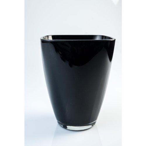 Eckige Vase YULE aus Glas, schwarz, 17 x 13 x 13 cm - Blumenvase / Tischvase - INNA Glas