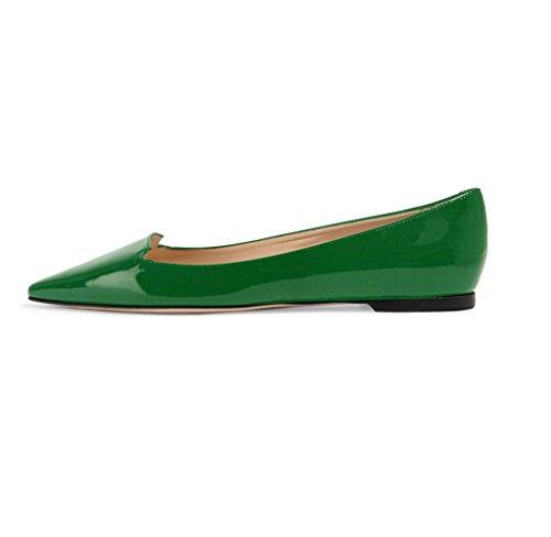 elashe Femmes - Ballerines - Bout Pointu Chaussures - Classiques Ballerines - Talon Plat - Bout Pointu Fermé Vert