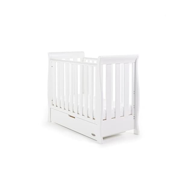 Obaby Stamford Sleigh Space Saver Cot - White Obaby Adjustable, 3 position base height Discreet under drawer included for extra storage Teething rails ensure delicate teeth are protected 1