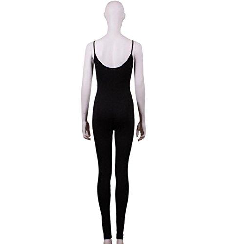 Combinaison femme Sexy Harnais serré Des sports Clubwear Fête Pantalons longs Jumpsuit Noir