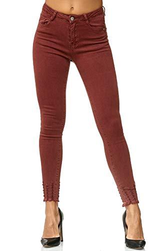 Elara Damen Jeans Hose Stretch| High Waist | Skinny Röhrenjeans| Slim Fit | Hochschnitt |Chunkyrayan 3D347 Wine 38