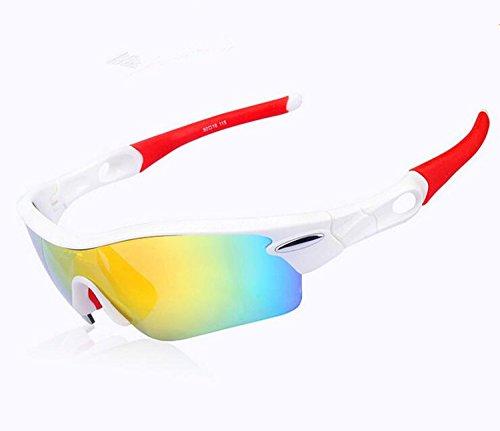 ishowstore Unisex Polarisierte UV-Schutz Outdoor Sports Wind Fahrrad Sonnenbrille, Weiß und Rot