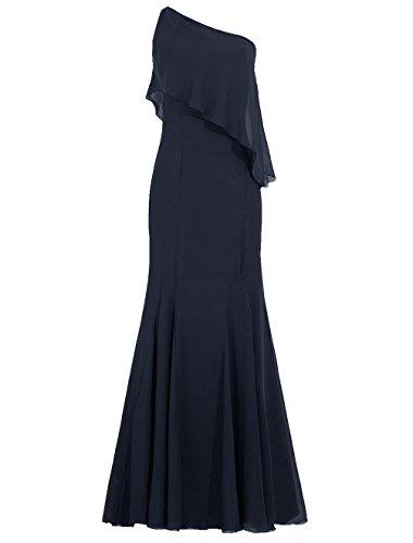 Dresstells Robe de cérémonie Robe de demoiselle d'honneur épaule asymétrique longueur ras du sol Marine