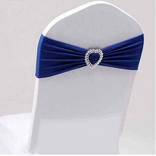 TOSSPER Führende Lycra Knot Sitzgurt Royal Blue Spandex-Gürtel mit Schnalle Herz Universal-Lycra Sitzgurt Hochzeit Dekoration -
