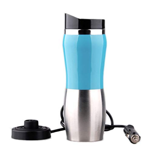 LJSHU 12 V Edelstahl Auto Elektrische Tasse Universal Kochendem Wasser 100 Grad Intelligente Tragbare 400 Ml Outdoor Reise Heizung Isolierung Wasserkocher,Green