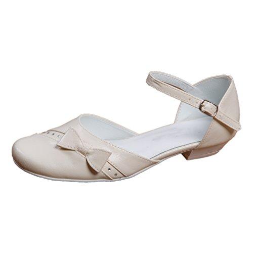 Kommunionschuhe Kinderschuhe für Mädchen Ballerina creme ivory Mod. 315 (33)
