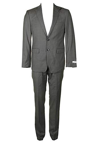 Calvin Klein Mens 2Pc Wool Suit with Flat Front Pant, 40L, Grey -