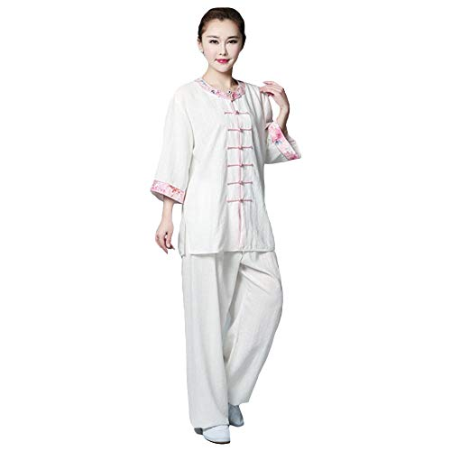 G-like Damen Tai Chi Anzug - Chinesische Kampfkunst Kung Fu Taiji Wushu Wing Chun Qigong Gymnastik Training Frühling Sommer Kleidung Mittlere Ärmel Bestickt Jacke Hose Set Uniform (Weiβ, S) (Dragon Kung Fu Training)